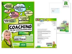 AOK-Bremen / Im Auftrag für die Agentur Dialoxx gestaltetes Plakt und Anschreiben an die Schulleiter